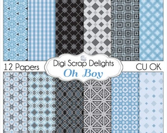 Oh Boy Blue Scrapbook Paper for Digital Scrapbooking , Instant Download, Patterned  Blues and Grays