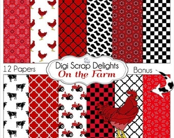 On the Farm Digital Papers w Cows, Tractor, Roosters Red & Black  scrapbooking, card making, crafts, Instant Download