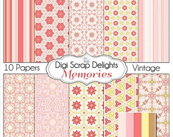 Memories Vintage Scrapbook Paper in Lovely Digital Pink & Yellow for Digital Scrapbooking, Cards, Instant Download
