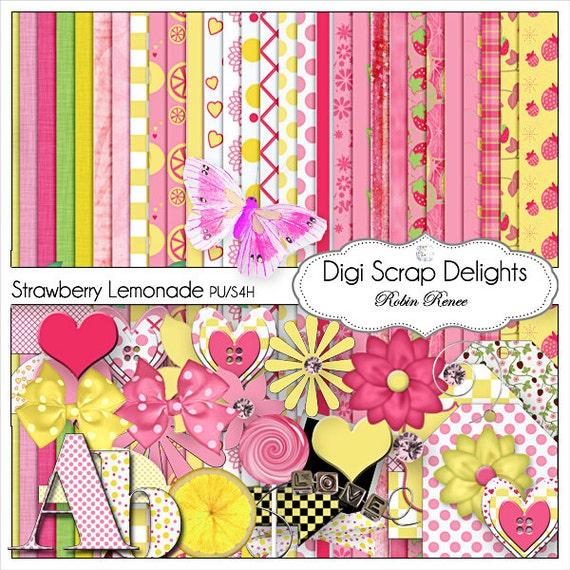 Pink &Yellow Digital Scrapbook Kit: Strawberry Lemonade for Digital Scrapbooking, Card Making, Web Design, Photo Cards, Instant Download