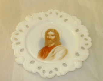 Vintage Milk Glass Wall Plaque Plate Jesus Christ Angel Border