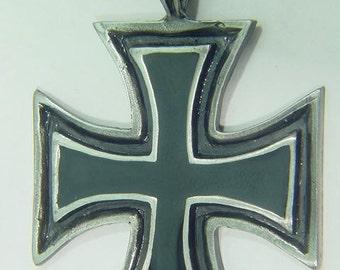 German Iron cross pewter pendant necklace 5004B