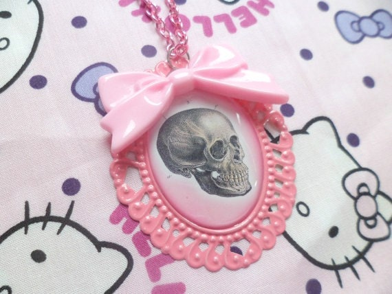 Pink Skull Cameo Necklace With Bow