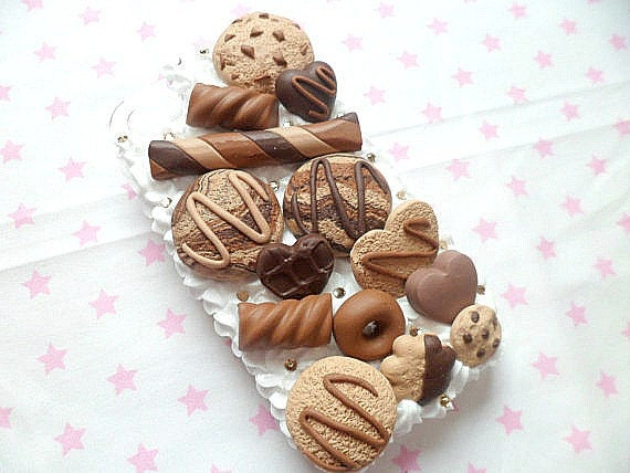 Kawaii Whipped Cream Decoden Toffee Chocolate Handmade Clay Cookie Ice Cream Scoop Candy Biscuit iPhone 4/4s Cell Phone Case