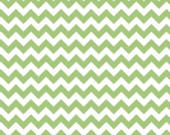 Clearance- Small Chevron Cotton - Green  by Riley Blake- 1 yard