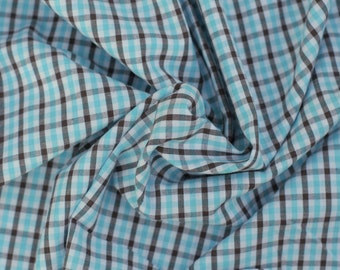 Blue and Brown Check Cotton Fabric, 1 Yard