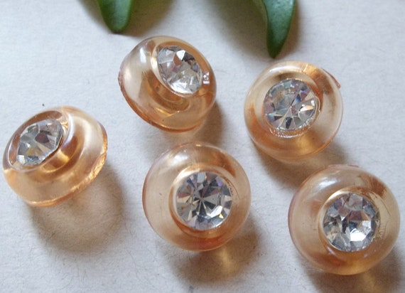 NOS Vintage Clear Peach Plastic Shank Buttons With Rhinestone Centers--lot of 5