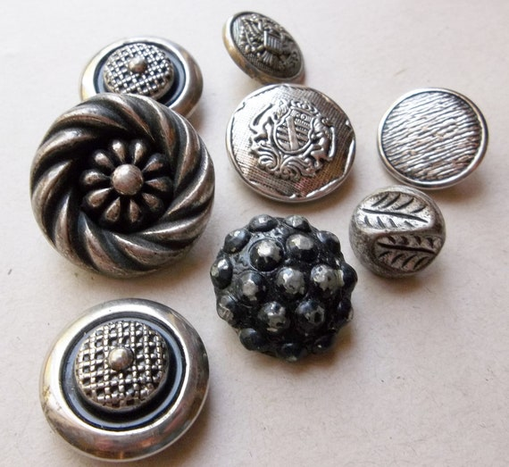 Silver Metal Shank Buttons--Vintage Mixed Lot 8