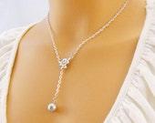 Teardrop from the Snow: Swarovski Pearl Necklace--Bridesmaid Necklace