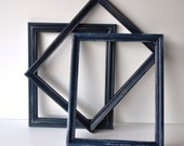 Navy Blue Distressed Picture Frames - Set of 3 Frames - Shabby Chic Wedding, Gallery Wall - Rustic Vintage Wall Decor - SALE