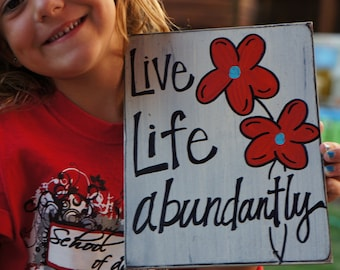 live life abundantly handmade wood card