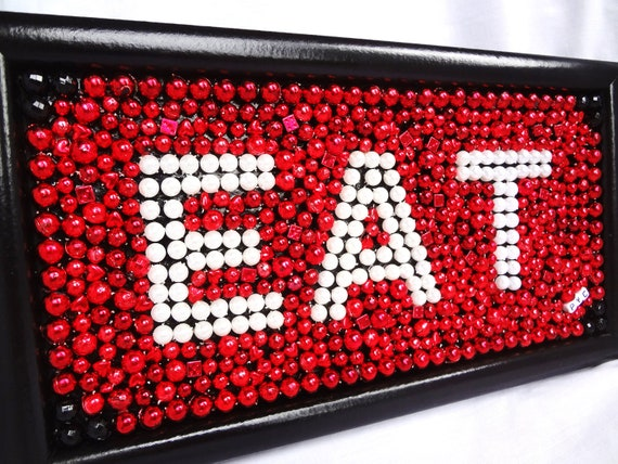 Framed mardi gras bead mosaic eat red black for Red kitchen wall art