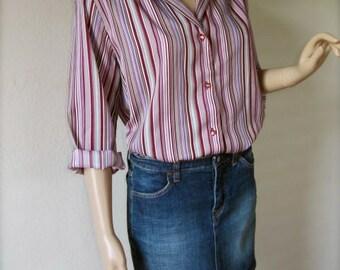 SALE Vintage 70s Levi's Purple Pink & Burgundy Striped Shirt/Blouse