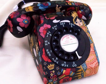Unique Black Floral La Virgencita Upcycled Vintage Rotary Phone FULLY WORKING