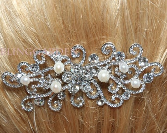 Flower Vintage Style Hair Comb, Rhinestone Crystals Freshwater Pearls Hair Comb, Bridal Hair Comb, Wedding Hair Comb, Pearls Hair Accessory