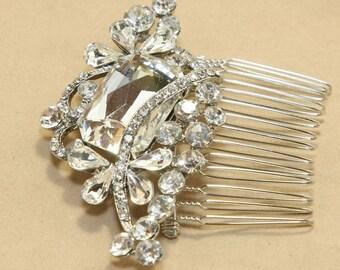 Vintage Style Large Rhinestone Crystal Wedding Hair Comb, Bridal Hair Comb / Sash, Wedding Hair Accessory