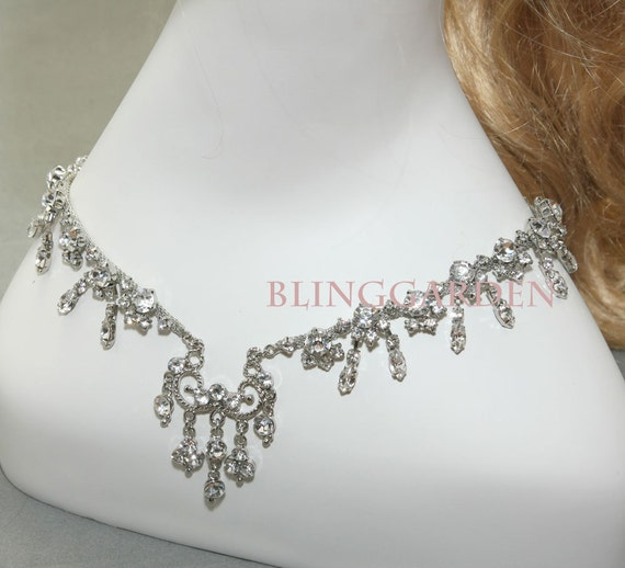 Silver Wedding Bridal Tiara  prom hair chain pageant / Necklace