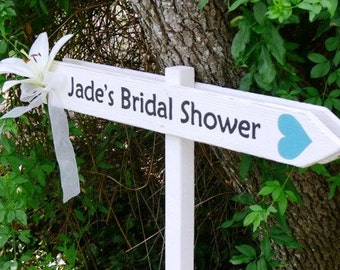 CUSTOM Wood Wedding DIRECTIONAL Signs.  Made to Order. HANDPAINTED. Weddings, Bridal Showers, Baby Showers.  Double Sided Sign.