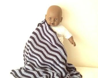 "SALE 36"" x 32"" Crochet Baby Blanket,Bedspread, Afghan,stroller / travel size in Blue and soft blue"