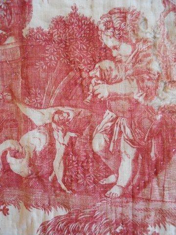 Antique French Fabric Toile 18th Century Toile De Jouy Linen