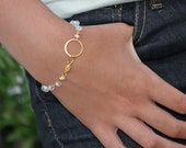 Moonstone Eternity Bracelet. Blue fire Moonstone Bracelet or Anklet. Gold fill - 22k vermeil or Sterling silver.
