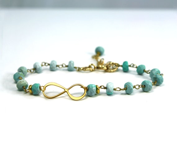 xtra 10% off for Facebook fans. Conundrum. Infinity bracelet Gold vermeil and turquoise eternity bracelet or anklet