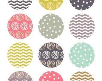 washi patterns 2 inch circles digital collage sheet, pink aqua purple mustard yellow, chevron polka dot party printable cupcake toppers  911