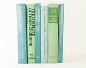 SEA BLUE GREEN Decorative Books, Wedding Table setting Centerpiece Decor, Photography Prop, Home Office Decor,Beach Wedding, MInt Green
