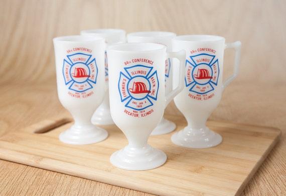 Firemen Souvenir Tall Pedestal Mugs, Milk Glass (set of 5)