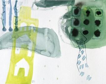 original abstract watercolor landscape map art 11x15.5inch