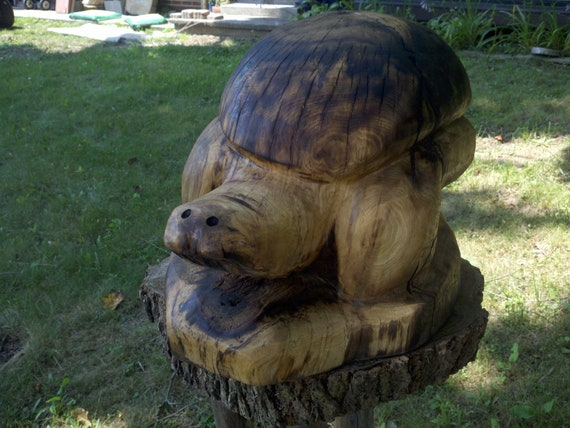 Items similar to large chainsaw carved turtle on etsy