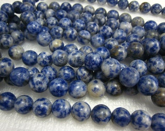 blue spot round bead 8mm 15 inch strand