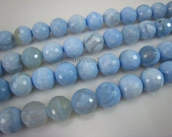 blue agate faceted round bead 12mm 15 inch strand