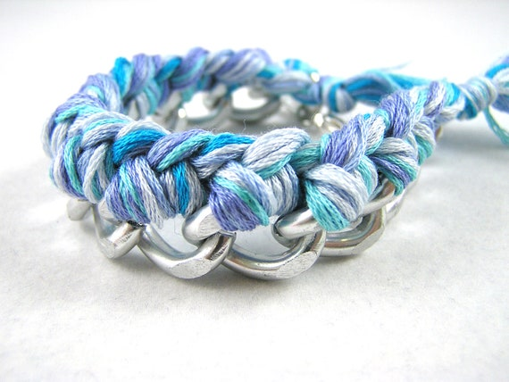 Blue and Silver Woven Chain Friendship Bracelet Arm Swag Party
