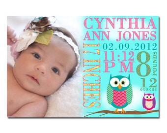 Owls Subway Art Printable Birth Announcement with Photo