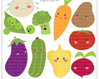 Kawaii Veggies - Digital Clip Art , Commercial Use Clipart, Scrapbook, Printable - Instant Download