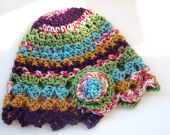 Crochet Cloche Hat with Flower Multicolored Anti Pilling Womens