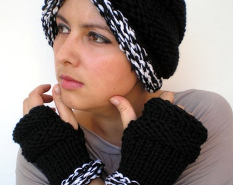 Oriental Turban Set Hat and Fingerless gloves Black and White Knit Set Hat and Gloves