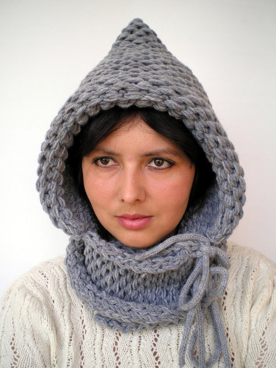 Grey  Double Spirit Knit Hood Super soft Mixed  wool Woman Reversible Hooded Cowl  GreyChunky Hoodie Womens Fall Winter Accessories
