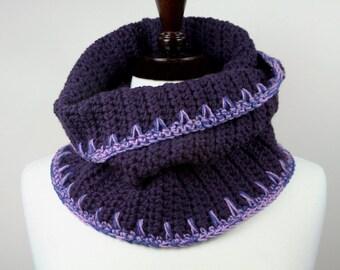 Mulberry - Chunky Super Warm Merino Handmade Crochet Cowl Neckwarmer with Lavender/Blue Peruvian Wool Trim, Unisex, Weather Resilient
