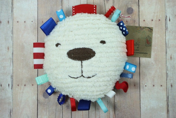 Red White and Blue Fireworks Baby Teether, Tag Toy, Plush Baby Toy, Nursery Decor  - Bear, Lion, or Puppy by JuteBaby