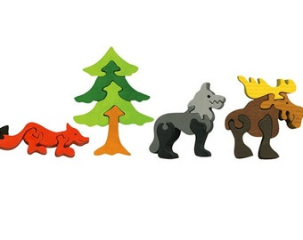 Packege of 4 pieces-Montessori-Waldorf maple wood puzzles- Wild animals