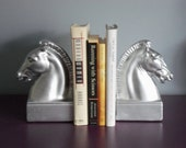 Vintage Pair Classic Silver Painted Heavy Bookends, Regal Horse Heads