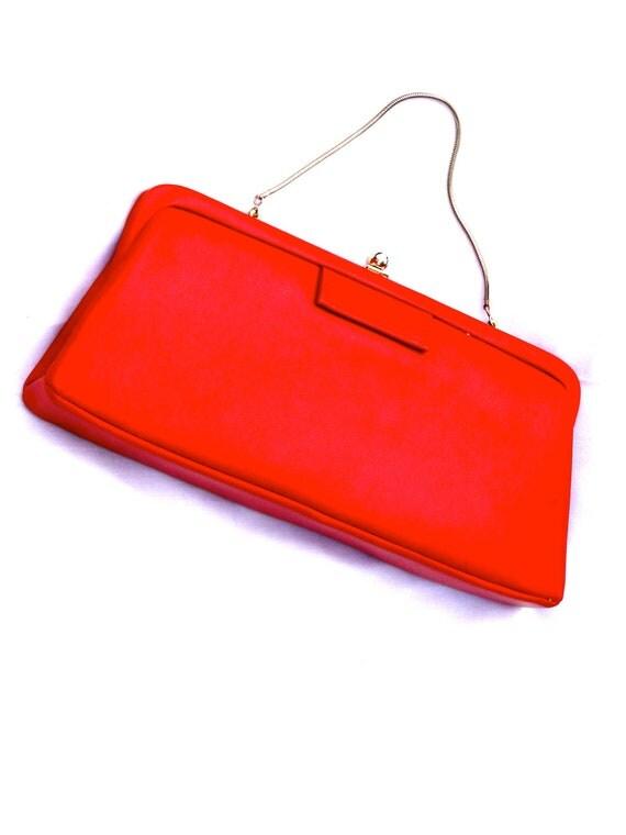 Vintage Ladies Handbag Red Leather Clutch Purse