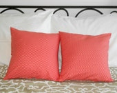Coral Pillow Covers Polka Dot Design 16 X 16
