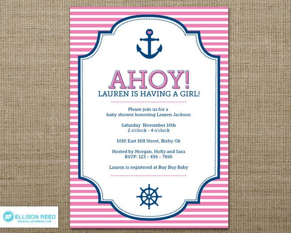 nautical printable girl baby shower baby shower invitation