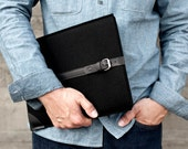 """Free shipping for Father's Day - MacBook Air 13"""" Sleeve / Case / Cover - Satin Black Wool Felt and Black premium Leather"""