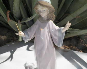Vintage Figurine. LLADRO. High Porcelain. Under My Spell. Porcelain Figurine. Witch Figurine. Whimsical Figurine. Girl and Dog Figurine.