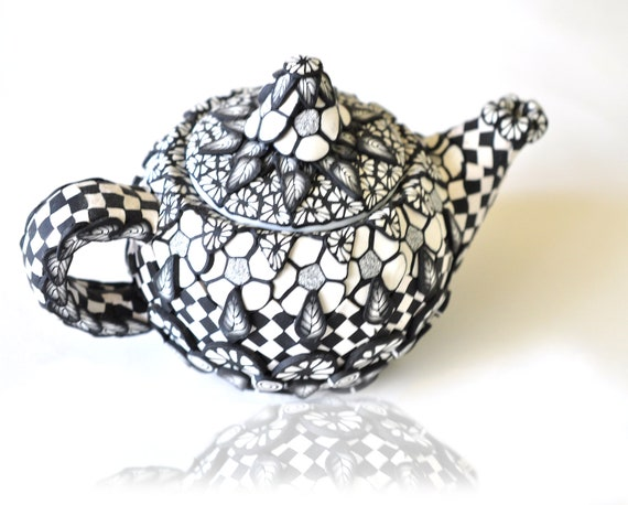 Polymer Clay Teapot 3D Black and White Geometric Designs,