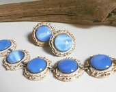 Vintage bracelet & earring set blue glass moon glow moonstone statement jewelry